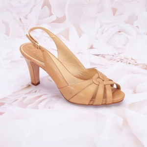 Cole Haan Strappy Peep Toe Sandals Heels Tan
